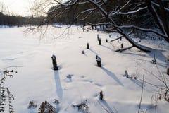 Il fiume congelato nell'inverno Le coperture di neve il ghiaccio Il fiume completamente è congelato Fotografia Stock