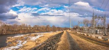 Il fiume Connecticut nella città di Westfield Fotografia Stock