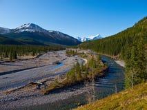 Il fiume del gomito nel paese di Kananaskis, Alberta fotografia stock