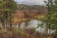 Il fiume del piccione attraversa il grande parco di stato di Portage e la prenotazione indiana È la frontiera fra Ontario ed il M immagine stock libera da diritti