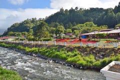 Il fiume della caldera ed i giardini di Boquete, Panama fotografia stock