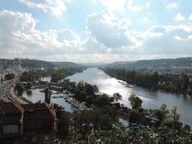 Il fiume della Moldava a Praga Fotografie Stock