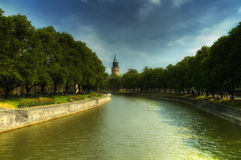 Il fiume di alone Fotografia Stock