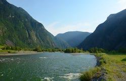 Il fiume di Bashkaus entra fra le colline nelle montagne di Altai Altay Republic, Siberia, Russia Immagini Stock