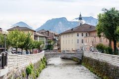 Il fiume di Brenta in Borgo Valsugana, Italia Immagine Stock Libera da Diritti