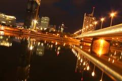 Il fiume di Danubio blu alla notte Fotografia Stock Libera da Diritti