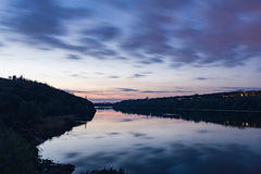 Il fiume di Dnieper alle 8 di sera Fotografia Stock