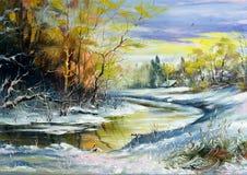 Il fiume di inverno Immagini Stock Libere da Diritti