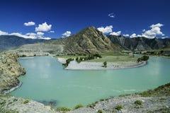 Il fiume di Katun fra le montagne di Altai Fotografia Stock Libera da Diritti