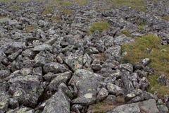 Il fiume di pietra Kurumnik - un giacimento detritico di pietra grigio Urals del Nord La Russia Fotografia Stock Libera da Diritti