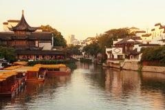 Il fiume di Qinhuai, Nanchino, Cina fotografie stock libere da diritti