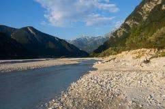 Il fiume di Tagliamento in Italia Fotografie Stock