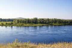 Il fiume Enisej, Krasnojarsk Krai, Russia fotografia stock