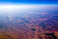 Il fiume Giallo aereo Cina Fotografia Stock