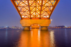 Il fiume Han con il ponte di Seongsan a night_2 Fotografia Stock