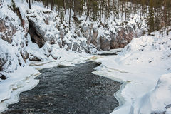 Il fiume Kitkajoki Finlandia Fotografie Stock Libere da Diritti