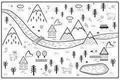 Il fiume, le montagne ed il legno di vettore avventurano la mappa con le Camere e gli animali Stile scandinavo Art Nursery Monoch royalty illustrazione gratis