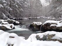 Il fiume Little Pigeon, neve immagini stock libere da diritti