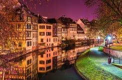 Il fiume malato nell'area di Petite France, Strasburgo Fotografia Stock Libera da Diritti