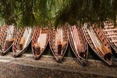 Il fiume Neckar, barche di legno Immagini Stock Libere da Diritti