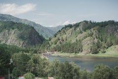 Il fiume nel altai montagnoso fra le montagne Fotografia Stock Libera da Diritti