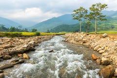 Il fiume nella città di Tule del paesaggio del Vietnam immagini stock libere da diritti