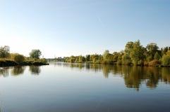 Il fiume Oder vicino a Wroclaw Fotografia Stock Libera da Diritti