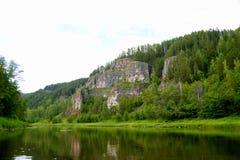Il fiume più pittoresco AI La Baschiria ural immagine stock