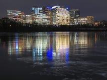Il fiume Potomac e Rosslyn ghiacciati la Virginia Fotografie Stock Libere da Diritti