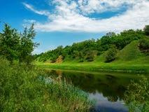 Il fiume in primavera in un giorno soleggiato Fotografia Stock