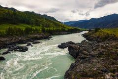 Il fiume rapido della montagna del turchese scorre fra le montagne Fotografia Stock
