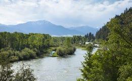 Il fiume Snake South Fork nella valle del cigno dell'Idaho Immagini Stock Libere da Diritti