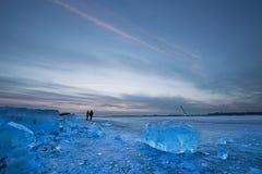 il fiume Songhua coperto di ghiaccio Fotografia Stock Libera da Diritti