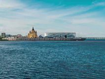 Il fiume Volga in Nižnij Novgorod al rallentatore video d archivio
