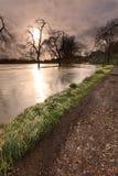 Il fiume Wey in inondazione Fotografia Stock
