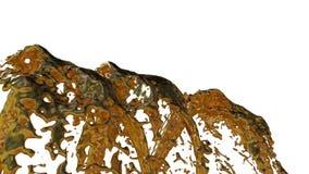 Il flusso liquido del metallo della mosca della fontana su in aria con molti spruzza Sparato del liquido del metallo come oro al  stock footage