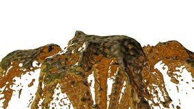 Il flusso liquido del metallo della mosca della fontana su in aria con molti spruzza Sparato del liquido del metallo come oro al  video d archivio