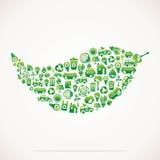 Il foglio è disegno con le icone della natura di eco Immagine Stock Libera da Diritti