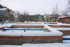 Il fondamento ha andato per passare l'inverno senza pareti Immagini Stock Libere da Diritti