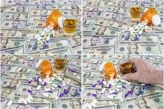Il fondo americano dei contanti dei soldi droga il collage delle bevande di alocohol Fotografie Stock