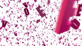 Il fondo animato avvolto con 3d rosa di filatura caotico segna l'AMORE con lettere, l'alfabeto latino Ciclo senza cuciture illustrazione di stock