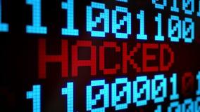 Il fondo animato avvolto con le linee correnti con il codice binario ed il testo luccicante HA INCISO il colore blu-chiaro e ross illustrazione vettoriale