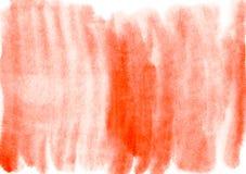Il fondo arancio dell'acquerello con pittura macchia la struttura di carta Fotografia Stock