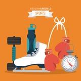 Il fondo arancio dello stile di vita sano mette in mostra con la testa di legno e bottiglia di acqua e pattini da ghiaccio e guan royalty illustrazione gratis
