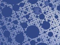 Il fondo astratto blu di frattale con una rete e un cerchio ha modellato i fori Fotografia Stock