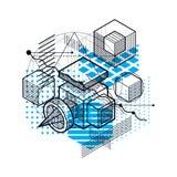 Il fondo astratto con gli elementi isometrici, vector l'arte lineare con le linee e le forme Cubi, esagoni, quadrati, rettangoli  illustrazione di stock