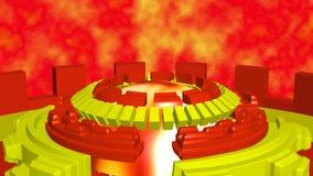 Il fondo astratto con i cerchi giranti di romanzo ingiallisce il rosso illustrazione vettoriale