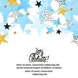 Il fondo astratto della celebrazione di vettore con l'acquerello blu stars illustrazione vettoriale