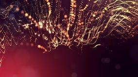 Il fondo astratto dinamico delle particelle d'ardore con bokeh brillante scintilla Composizione rossa dorata scura con stock footage