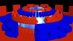 Il fondo astratto 4k con rosso blu di romanzo circonda la rotazione illustrazione di stock